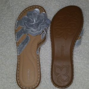 Sandals with silver flower on top